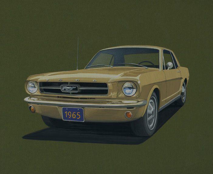 1965 Ford Mustang Original Art by OriginalsArtNPrints on Etsy