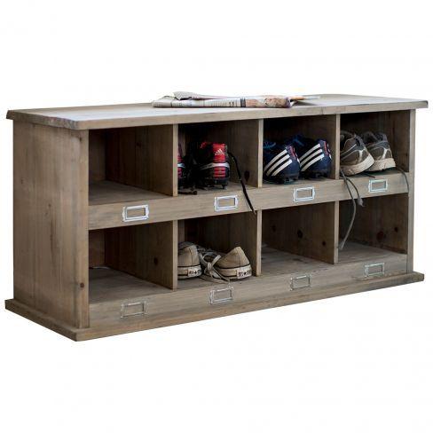 Inspired by traditional school lockers, this rustic shoe rack is the perfect addition to any hallway - it stores away footwear neatly and doubles up as bench too.