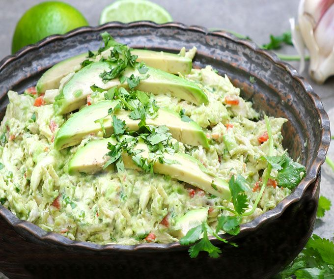 If you love chicken salad, you're going to go crazy for this one. My Venezuelan friend Sonia shared her recipe with me. Shredded chicken is mixed with avocado, lime juice, jalapeño, bell pepper, white onion, garlic and cilantro. There's no mayonnaise or dairy so it's super healthy, paleo, dairy-free, and bursting with vibrant Latin flavors.
