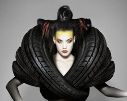 Recycle tires design: Goodyear Dunlop, Carl Elkin, Cars Tired, Recycled Tired, Costumes Design, Behance Network, Fashion Editorial, Photography, Haute Couture