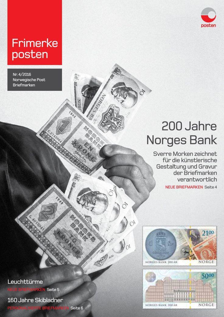 Norwegische Post Briefmarken Info-Blatt Nr. 4-2016