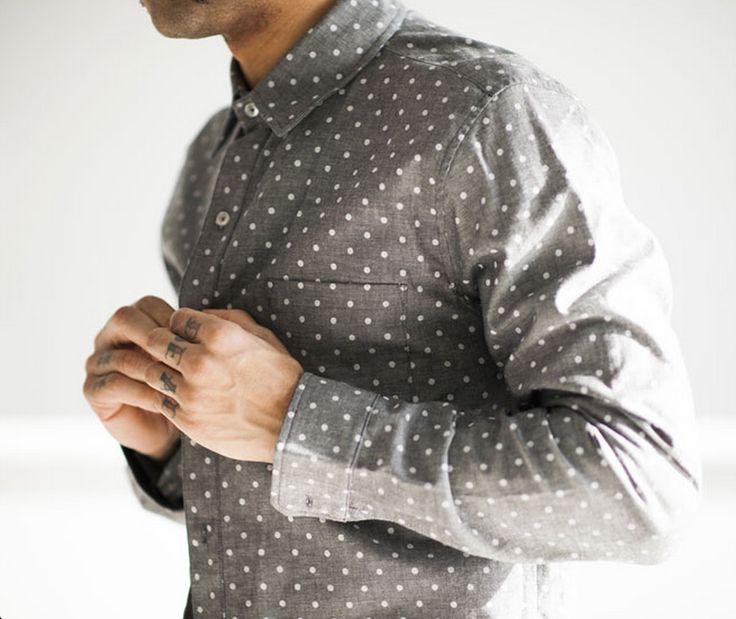 #menswear #style #shirt #pattern #polka dots streetstyle fashion button up All the way Style men tattoo