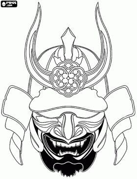 Japanese Samurai Warrior Mask   Samurai coloring pages, coloring pages of Samurai , printable Samurai ...