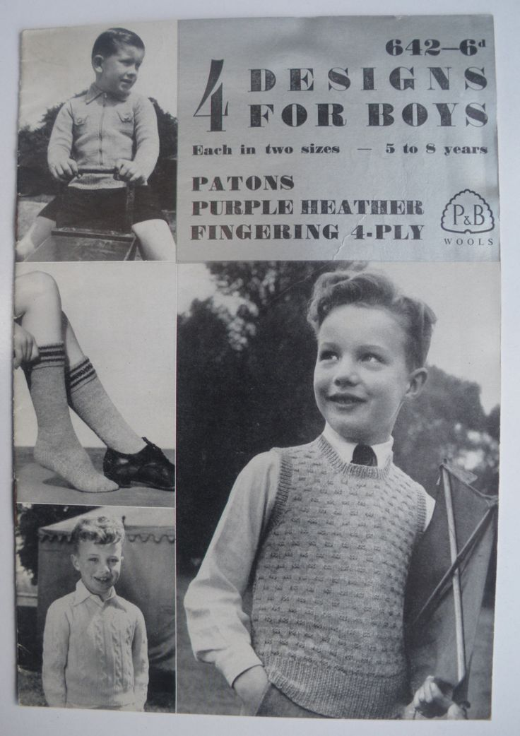 Vintage 1940s 1950s Knitting Patterns Booklet for Boys Sweaters Pullovers Vests 40s 50s original pattern. $8.00, via Etsy.