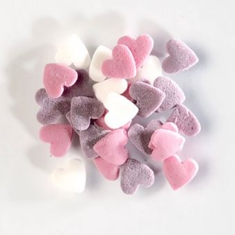WHITE, PINK AND LILAC SUGAR HEARTS (BAKE A CAKE), 60G