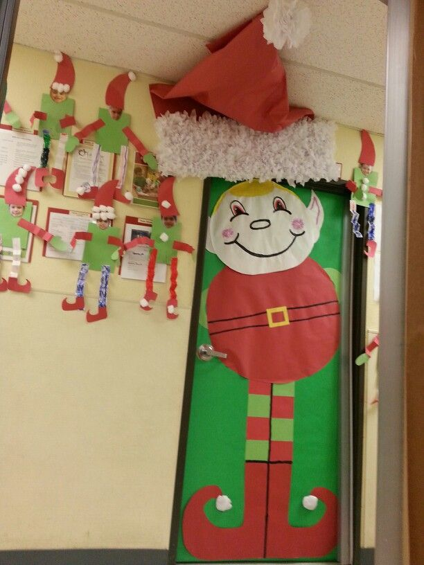 My latest door decoration of an elf classroom for Elf door decoration