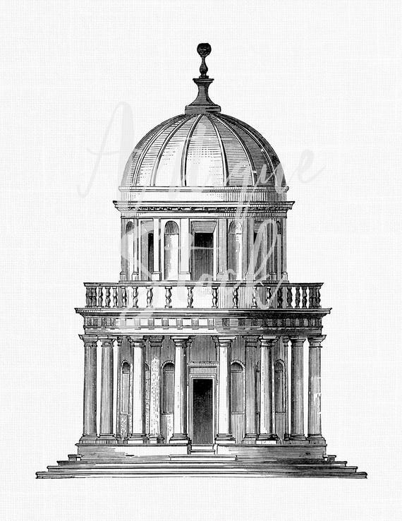 Vintage Image The Tempietto San Pietro Church Etsy Architecture History Renaissance Architecture Architecture Sketch