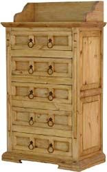 This piece of solid pine furniture has a lot of storage space for a very affordable price!  Intended for use in a bedroom, it works anywhere you need more storage. The dresser top is ideal for a lamp, a row of books, or a spot to display our Mexican folk art. The southwestern design goes well with many other styles of furniture, and the handmade Mexican construction is attractive and sturdy.