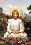 Mahavatar Babaji Picture - Lotus Pose in White Robes - Magnet