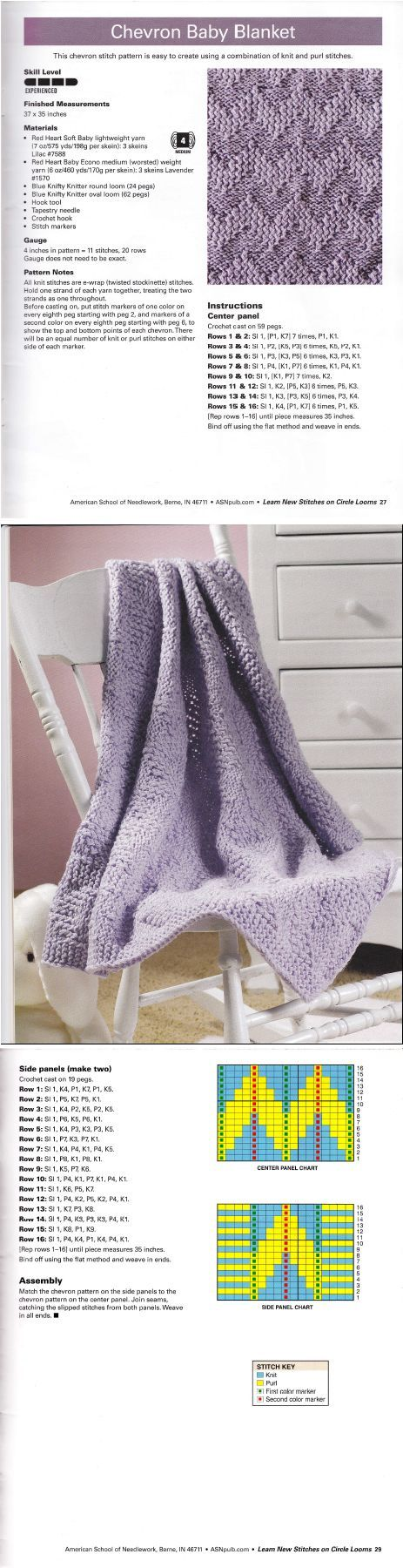 Learn New Stitches on Circle Looms by Anne Bipes: Chevron Baby Blanket: