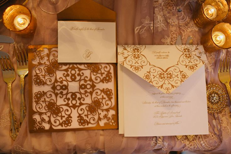 Laser cut wedding stationery by @Daniela I.   #wedding #gold #lasercut    Photo: www.janiceyiphotography.ca   Wedding Planner: www.traceymevents.ca Featured on: Wedding Obsession Wedding Blog http://www.weddingobsession.com/2014/01/29/luxurious-mexico-inspired-style-shoot/