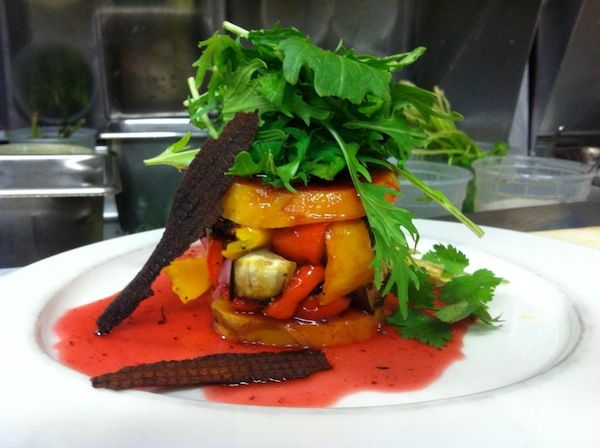 Sweet Potato and Roasted Autumn Vegetable Terrine with Cranberry Syrup - Local 149, South Boston, MA.