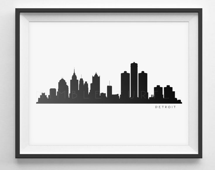 Detroit Skyline Black and White Silhouette - Printable Download