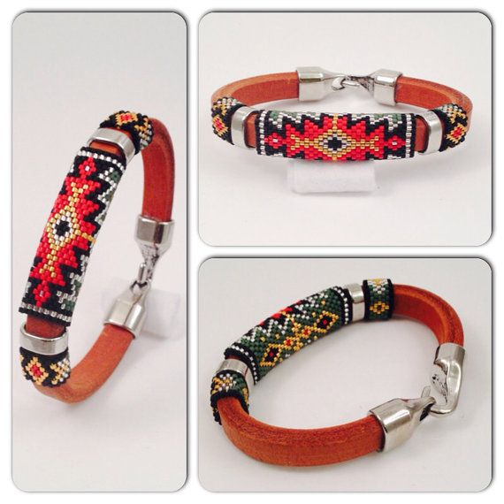 This Leather Bangle is inspired by Native American prints and colors. Handmade with Delica glass seed beads and galvanized gold finished seed beads to
