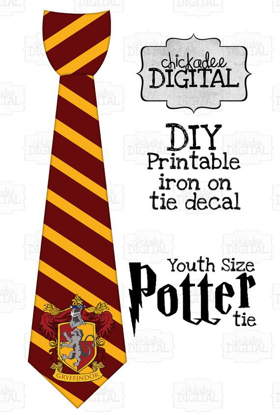1 Harry Potter Tie Gryffindor Crest Red and Gold Printable DIY Iron On Tie Decal, boys youth size, printable tie, Iron on tie for tshirts