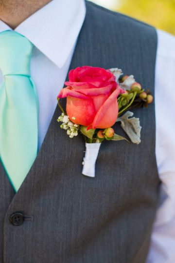 Light Teal Tie + Coral Rose|{Coral, Teal & Grey} Beach Wedding|Photographer:  Kristy and Vic Photography