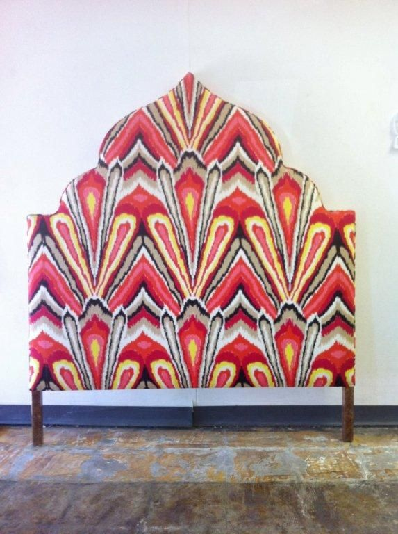 Moroccan headboard upholstered in Trina Turk print: Trina Turk, Interiors Design Offices, Bedrooms Interiors Design, Design Interiors, Beautiful Headboards, Design Bedrooms, Diy Headboards,  Paddles Wheels, Headboards Shape
