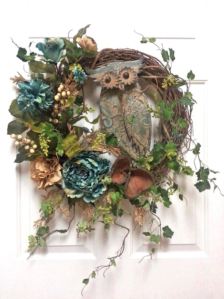 Charming Aqua and Brown Owl Wreath, Silk Floral Wreath, Grapevine Wreath, Front Door Wreath, Year Round Wreath, Welcome Wreath, Housewarming Wreath, Wreath on Etsy, by Adorabella Wreaths!