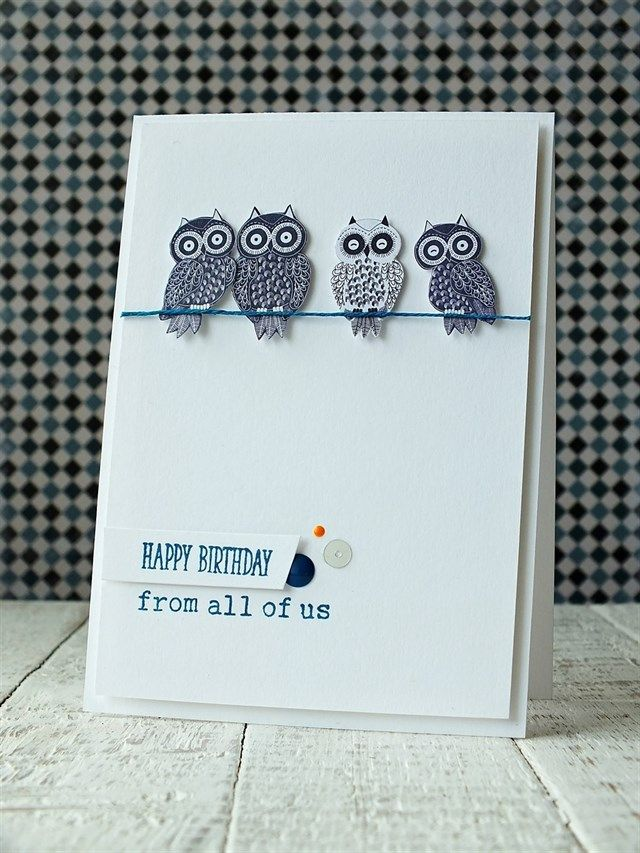 Lovely Card Making Ideas Owls Part - 8: Handmade Birthday Card Featuring Owls. Nice, Clean, Minimal Style.