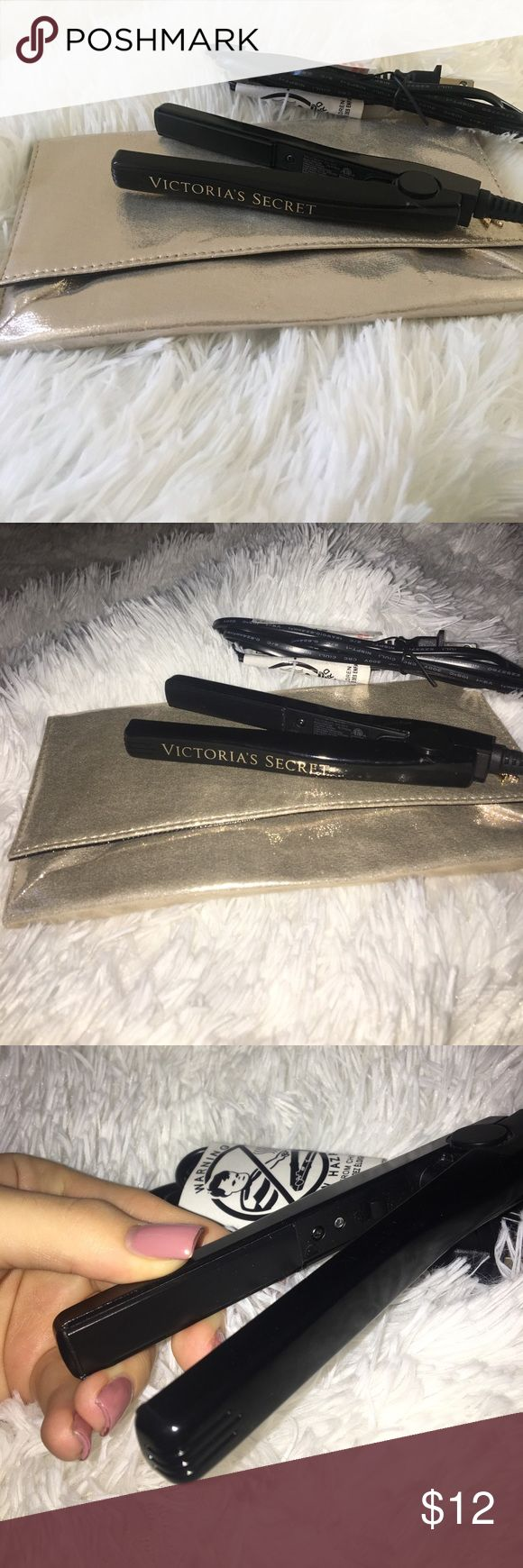 Victoria's Secret travel hair straightener Never used -- mini straightener with pouch that could also be used as a makeup bag Victoria's Secret Makeup