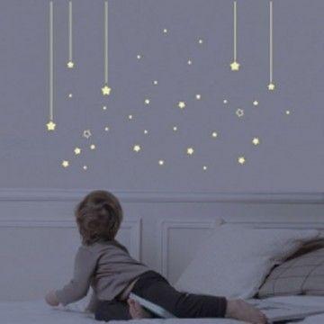 Sticker chambre enfant phosphorescent Mur d'étoiles