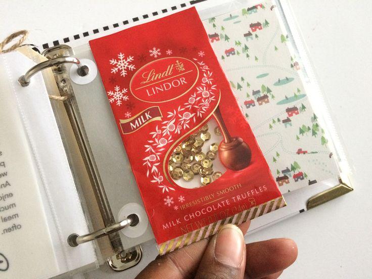 December Daily 2016 - Cute shaker pocket using a Lindt Lindor Chocolate wrapper! (4x4 Album)