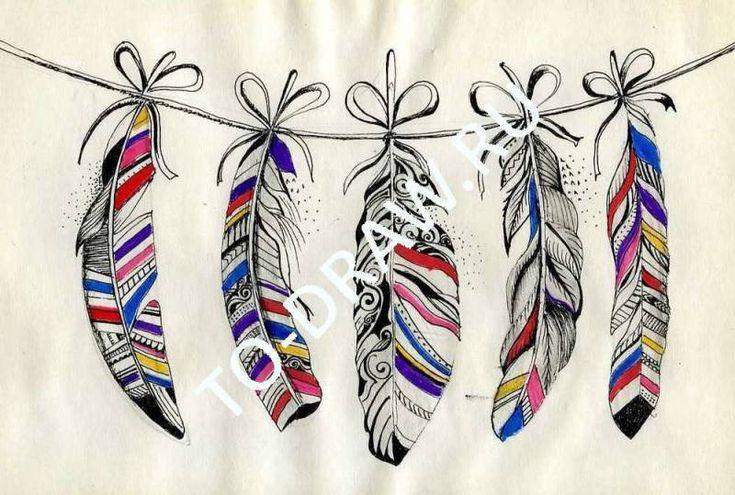 Рисунок пера, выполнен гелевой ручкой и цветными маркерами. - Рисунки…