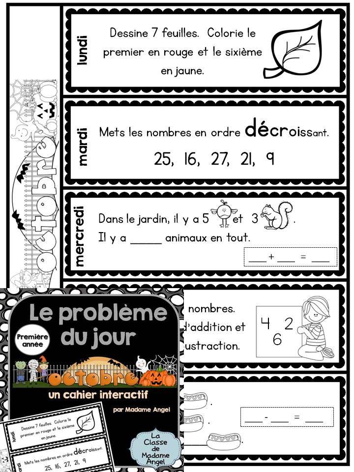Le problème du jour pour la première année!  First Grade Math Problem of the Day in French!  Interactive flip book style.  $