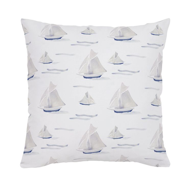 Accent Pillow in and Watercolor Sailboats by Carousel Designs.