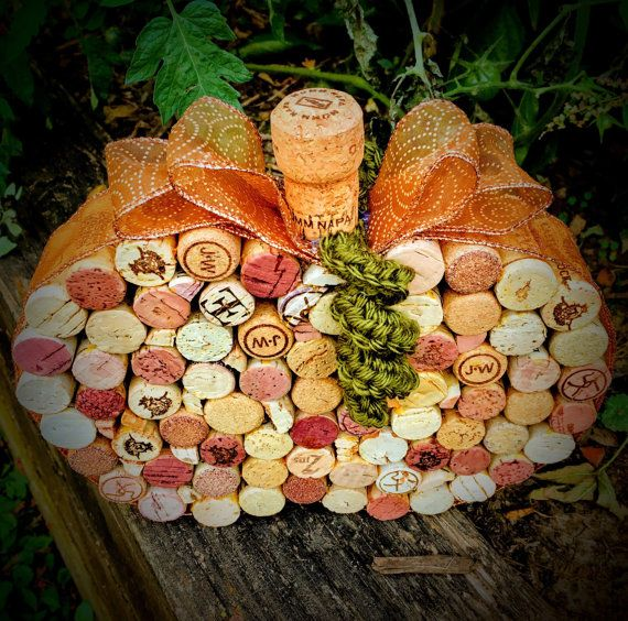 Items similar to Table Decoration - Wine Cork Apple or Pumpkin Centerpiece on Etsy