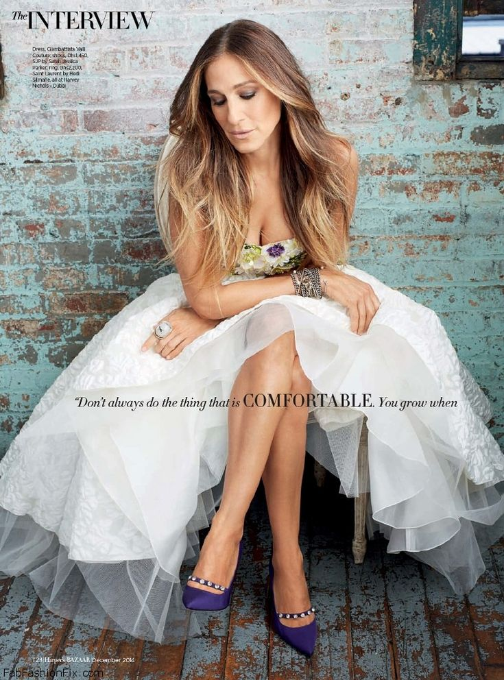 Sarah Jessica Parker wearing Giambattista Valli dress for Harper's Bazaar Arabia December 2014. #sarahjessicaparker