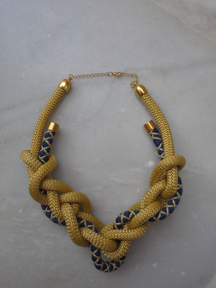Gold and navy blue ropes combined in a fabulous necklace