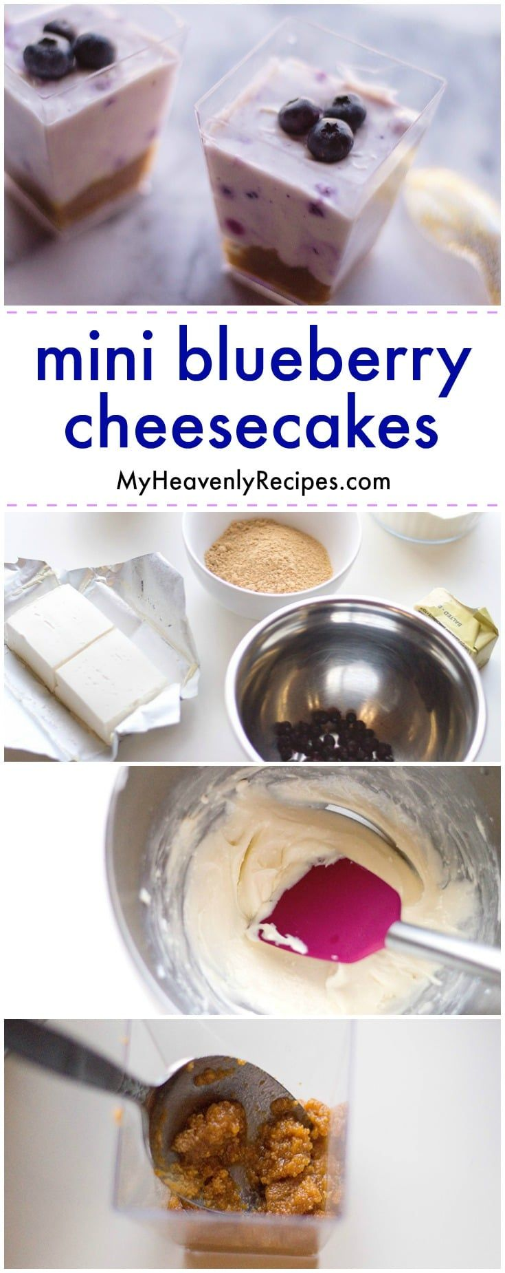 Ready for a delicious no bake dessert recipe? Try these Mini Blueberry Cheesecakes! This no bake blueberry cheesecake recipe is about as good as dessert gets. #nobake #nobakedessert #cheesecake #blueberrycheesecake #nobakeblueberrycheesecake via @heavenlyrecipe