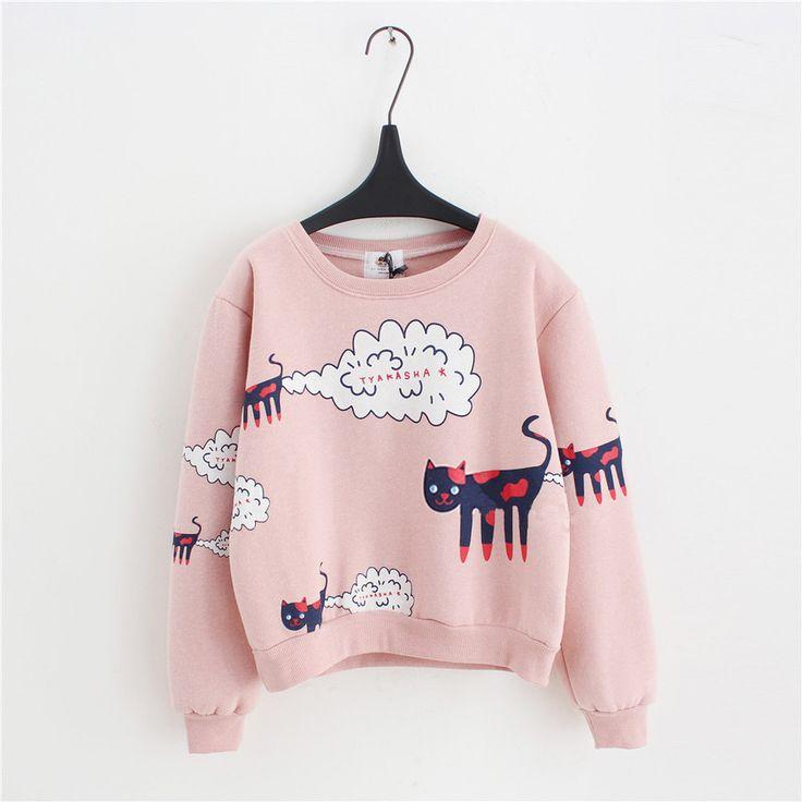 Cheap sweatshirts children, Buy Quality sweatshirt zipper directly from China sweatshirt pink Suppliers: 2016New Autumn Winter Sweatshirt Women Tops Plus Size Loose Casual Plus Thick Velvet Cartoon Cat Pattern Sweatshi
