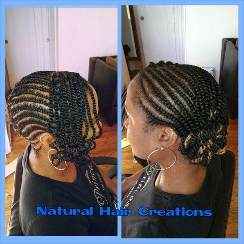 Flat Twists Side Bun Bangs Natural Hair My Work