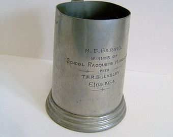 1934 Pewter Tankard Awarded to MB Baring of Eton College - Barings Bank Vintage Tankard Vintage Metalware Vintage Banking Vintage College