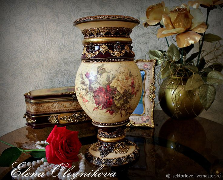 Купить Ваза винтажные розы - бордовый, вазочка, ваза, ваза для цветов, ваза для сухоцветов