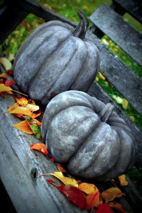 Concrete Garden Pumpkins!  Make a mold....use Leak Stop