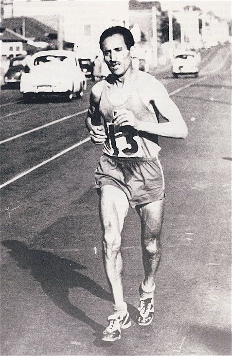 Algerian Alain Mimoun representing France on his way to winning the 1956 Olympic Games Marathon - In what was to be his last major race, the great Emil Zatopek winner of the 1952 Olympic Marathon finished 6th