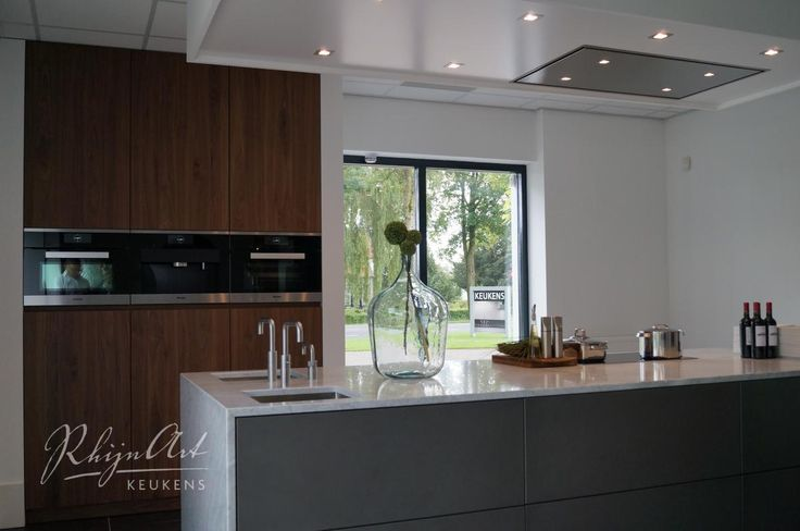 dark brown wood, grey, white: colors combination in the kitchen