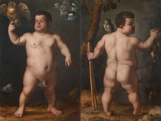 Agnolo Bronzino, Nano Morgante, 1552 ca, fronte e retro, Galleria degli Uffizi: