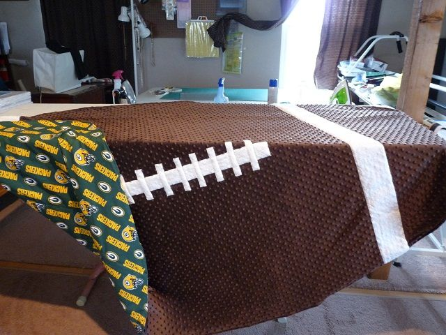 Football shaped blanket...  more direction on page 4 for adult sized