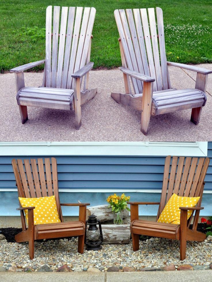 Terrassenmöbel Holz Outdoor Sessel Vorher Nachher Bild