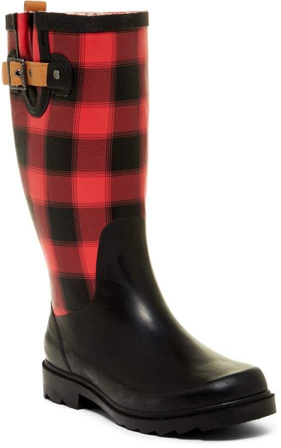 Chooka Lumber Buffalo Plaid Waterproof Rain Boot. Stay dry in style! #buffaloplaid #rainboots #ad #plaid #boots