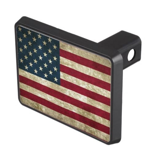 USA flag grunge Trailer Hitch Covers