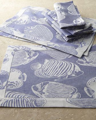 """Pesce"" Table Linens at Horchow."