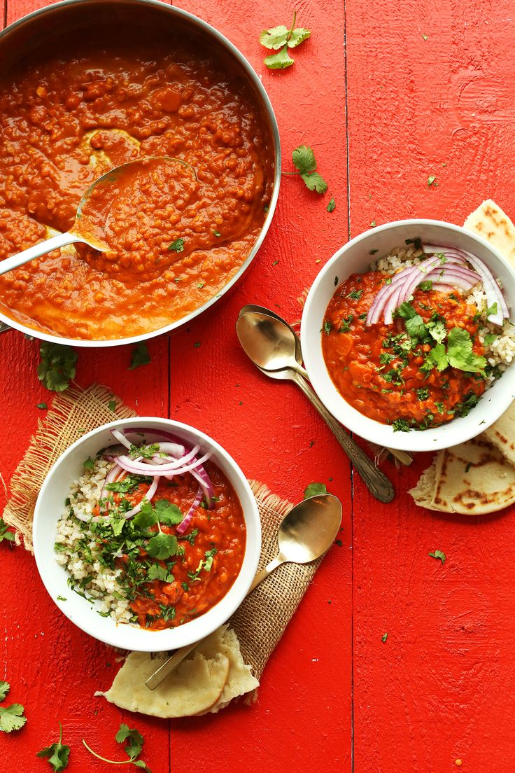 Insanely delicious, 30-minute red lentil curry! Saucy, hearty, and protein-rich. Perfect over brown rice for asimple, plant-based meal.