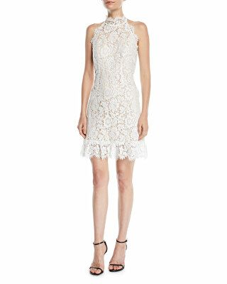 b6dea869dd61b8 Aijek Designer Halter Mini Dress In Lace