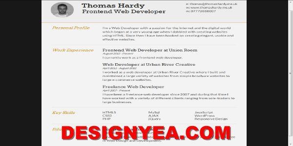 Free HTML CV Resume Templates Free Templates Pinterest Cv - resume for web developer