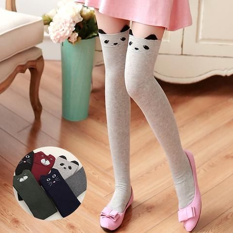 Cute and Cuddly Cat, Panda and Bear Thigh High socks (6 options)